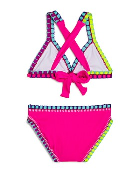 9883b6b1fa0be ... Platinum inspired by Solange Ferrarini - Girls' Rainbow Embroidered  Ribbed Two-Piece Swimsuit,