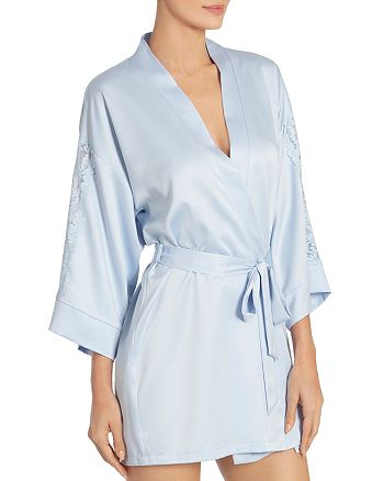 In Bloom by Jonquil - Lace-Trim Satin Wrap Robe