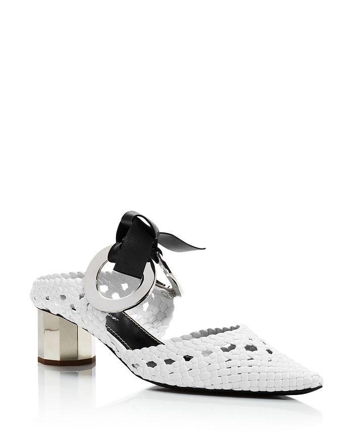 Proenza Schouler - Women's Woven Grommet Block Heel Mules