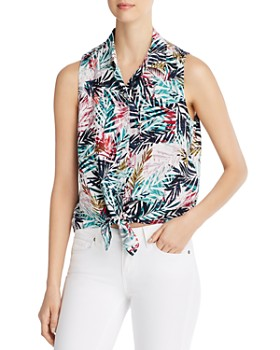 BeachLunchLounge - Sleeveless Printed Tie-Front Top - 100% Exclusive
