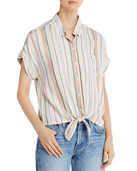 BeachLunchLounge - Striped Tie-Front Shirt