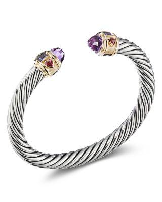 David Yurman Sterling Silver & 14K Yellow Gold Renaissance Bracelet with Amethyst, Iolite & Rhodalite Garnet  | Bloomingdale's