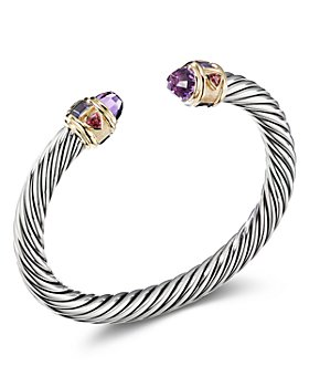 David Yurman - Sterling Silver & 14K Yellow Gold Renaissance Bracelet with Amethyst, Iolite & Rhodalite Garnet