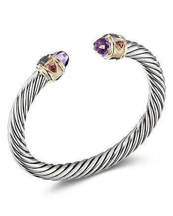 David Yurman - Sterling Silver & 14K Yellow Gold Renaissance Bracelet with Amethyst, Iolite & Rhodalite Garnet