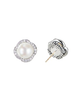 David Yurman - Sterling Silver Continuance Pearl Button Earrings with Diamonds