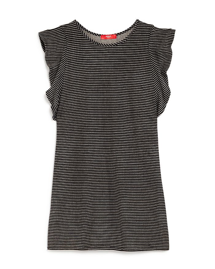AQUA - Girls' Flounce-Sleeve Striped Dress, Big Kid - 100% Exclusive