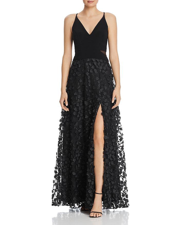 AQUA - Floral Applique Gown - 100% Exclusive