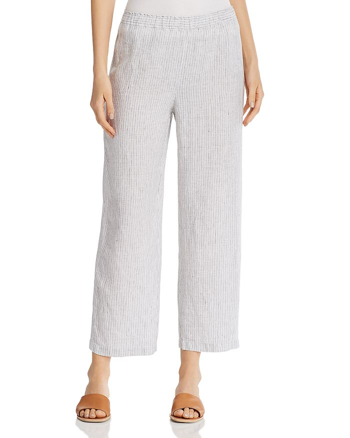 Eileen Fisher Petites - Striped Organic Linen Ankle Pants