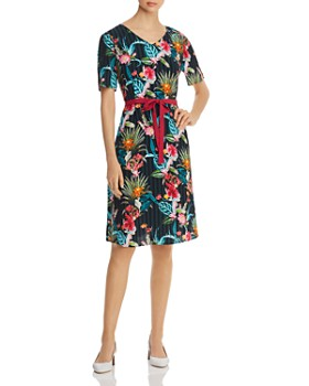 BASLER - Belted Floral-Print Dress