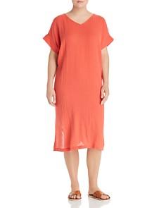 Eileen Fisher Plus - Plissé Organic Cotton Side-Slit Dress
