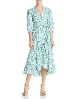 Rebecca Taylor - Emerald Ruffled Floral Wrap Dress