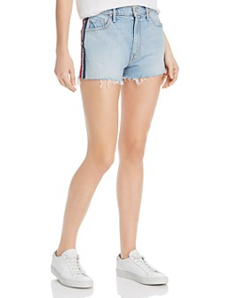 MOTHER - Easy Does It Track Stripe Denim Cutoff Shorts in Thanks, Again Racer