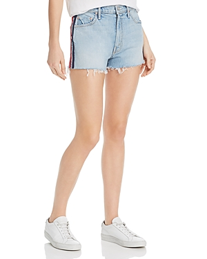 Mother Shorts EASY DOES IT TRACK STRIPE DENIM CUTOFF SHORTS IN THANKS, AGAIN RACER