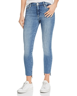 Frame Le High Skinny Raw-Edge Stagger Jeans in Westway
