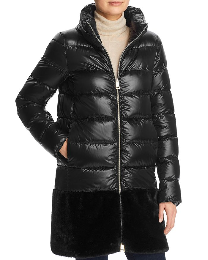 Herno - Stand Collar Faux Fur-Hem Down Coat