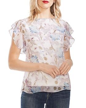 23adffb5807 VINCE CAMUTO - Poetic Blooms Printed Flutter-Sleeve Top ...