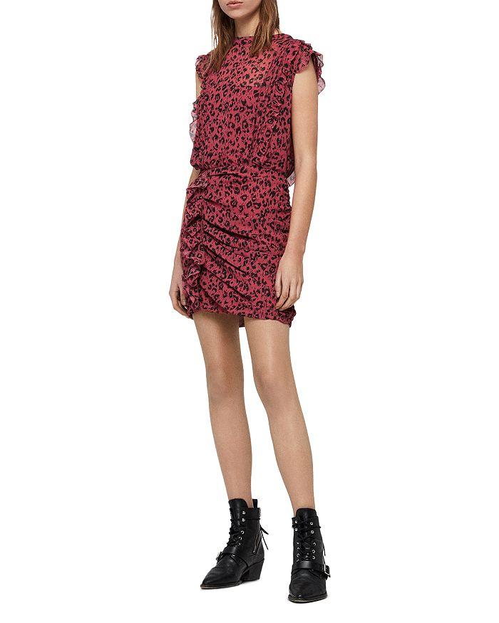 99e57d8168e9 ALLSAINTS Hali Roar Ruched Leopard Print Dress | Bloomingdale's