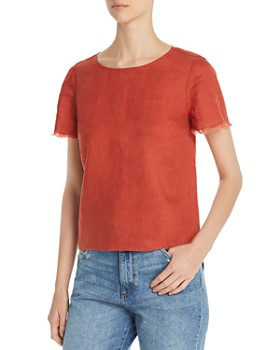 VINCE CAMUTO - Frayed-Sleeve Linen Tee - 100% Exclusive
