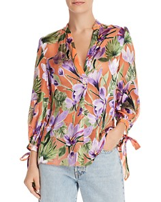 Alice and Olivia - Sheila Blouson-Sleeve Floral Burnout Top