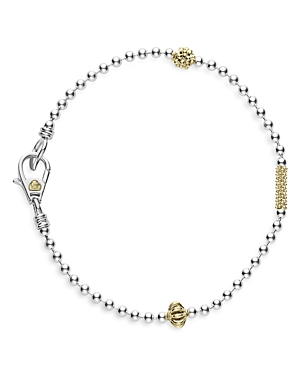 Lagos Accessories STERLING SILVER & 18K YELLOW GOLD CAVIAR ICON ROW BRACELET