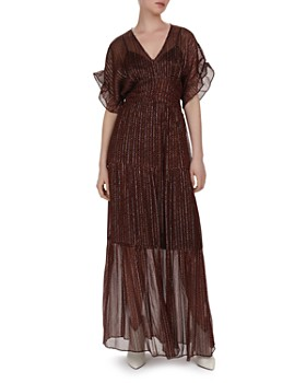 ba&sh - Wanda Metallic Herringbone Print Maxi Dress