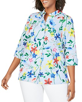 Foxcroft Plus - Libby Wrinkle-Free Striped Floral Shirt