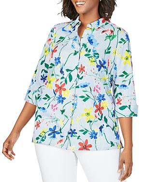 Foxcroft Plus Libby Wrinkle-Free Striped Floral Shirt