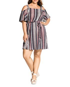 477ee8086 City Chic Plus - Rose Stripe Cold-Shoulder Dress ...