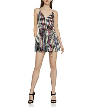 1345383fc6 BCBGMAXAZRIA - Crossover Striped Romper ...