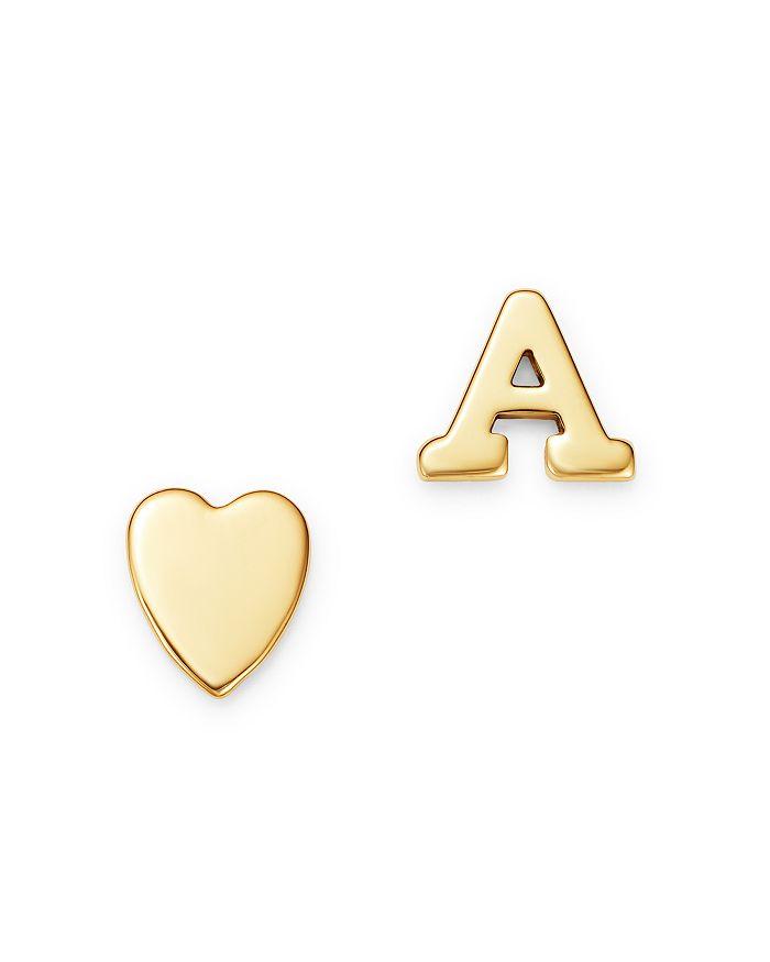 3ddd6b6a46d4b 14K Yellow Gold Heart & Initial Stud Earrings