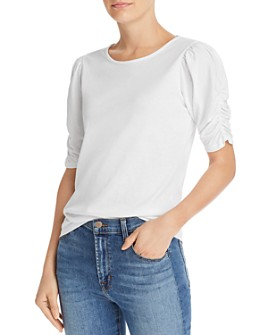FRAME - Ruched-Sleeve Tee