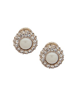 Ralph Lauren - Pavé & Simulated Pearl Clip-On Earrings