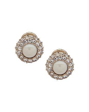 Ralph Lauren - Pavé & Simulated Pearl Clip-On Earrings