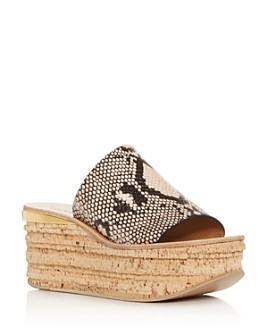 Chloé - Women's Camille Snake-Embossed Platform Slide Sandals