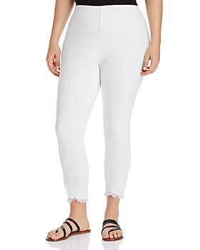 Lyssé Plus - Cropped Frayed-Hem Legging Jeans in White