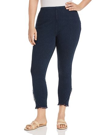 Lyssé Plus - Cropped Frayed-Hem Legging Jeans in Indigo