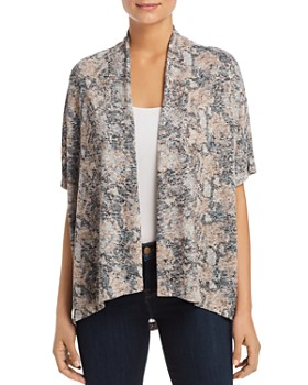 B Collection by Bobeau - Helena Abstract-Floral Open Cardigan