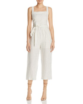 Lost and Wander - Gabriela Striped Cropped Linen Jumpsuit