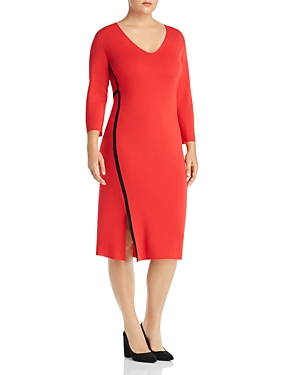 Marina Rinaldi Giove Side-Stripe Knit Sheath Dress