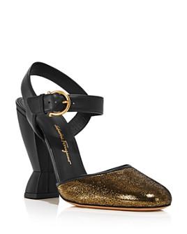 Salvatore Ferragamo - Women's Gazania Suede Block-Heel Pumps