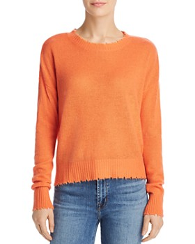 edce935b706eb1 Minnie Rose - Distressed Cashmere Crewneck Sweater ...