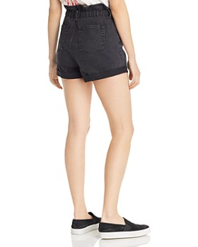 Sunset & Spring - Paperbag-Waist Denim Shorts