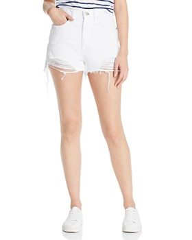 rag & bone/JEAN - Maya High-Rise Distressed Denim Shorts in White Tabby