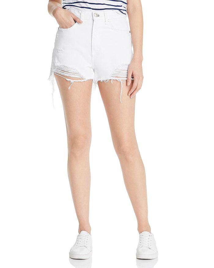 f3267434a57a rag & bone Maya High-Rise Distressed Denim Shorts in White Tabby ...