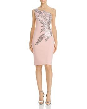 Tadashi Shoji - One-Shoulder Sequined Neoprene Dress