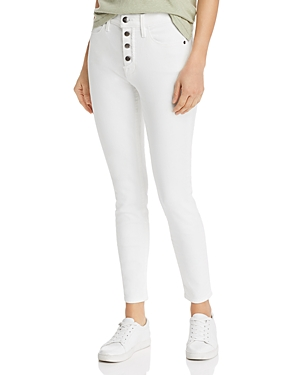 Frame Jeans LE HIGH SKINNY BUTTON FLY JEANS IN BLANC STREET