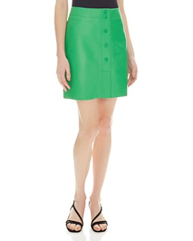 Sandro - Louna Snap-Front Leather Skirt