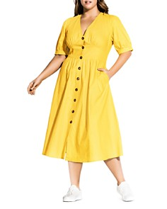 City Chic Plus - Sunset Stroll Button-Front Dress