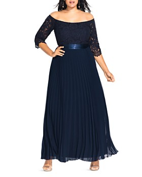 City Chic Plus - Off-the-Shoulder Lace-Bodice Gown