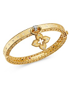 Roberto Coin - 18K Yellow Gold & 18K White Gold Venetian Princess Diamond Bangle Bracelet